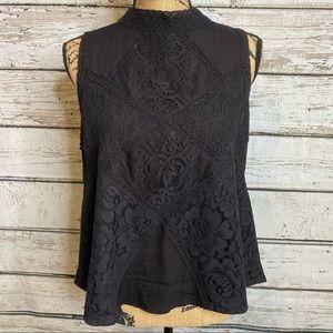 Blue Rain Black Lacy Shirt Top Blouse Size Large